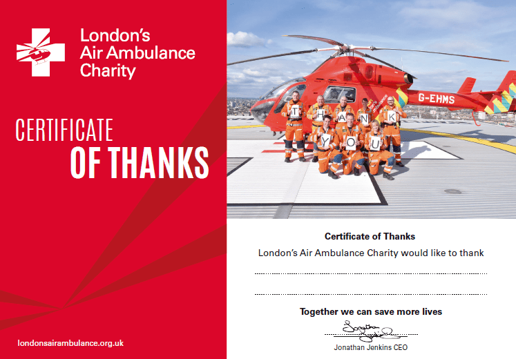 London's Air Ambulance Charity Certificate of Thanks